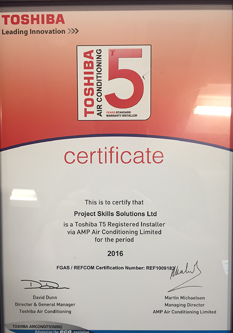 Toshiba 5 year warranty from Project Skills Solutions