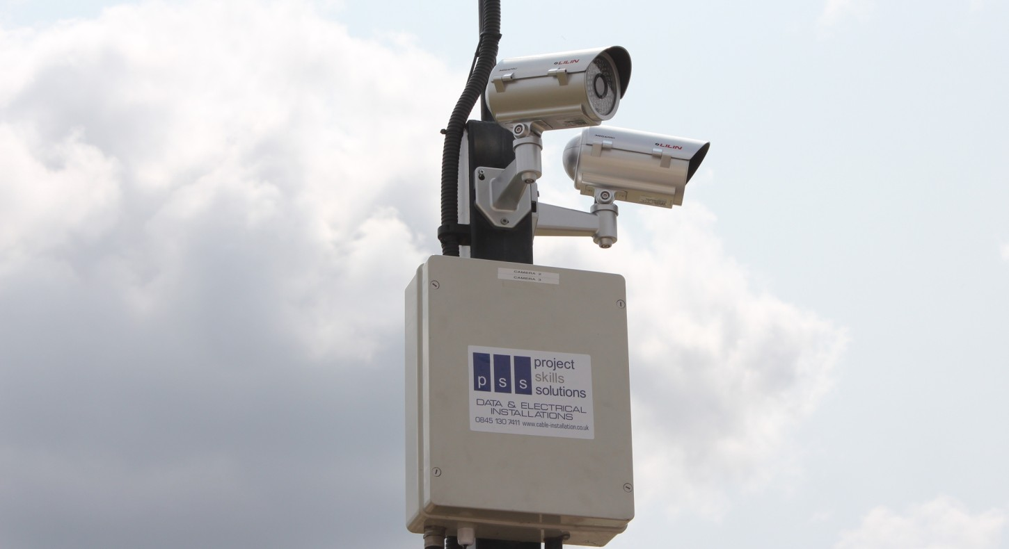 2 CCTV cameras on pole about wireless box - CCTV Installation from Project Skills Solutions