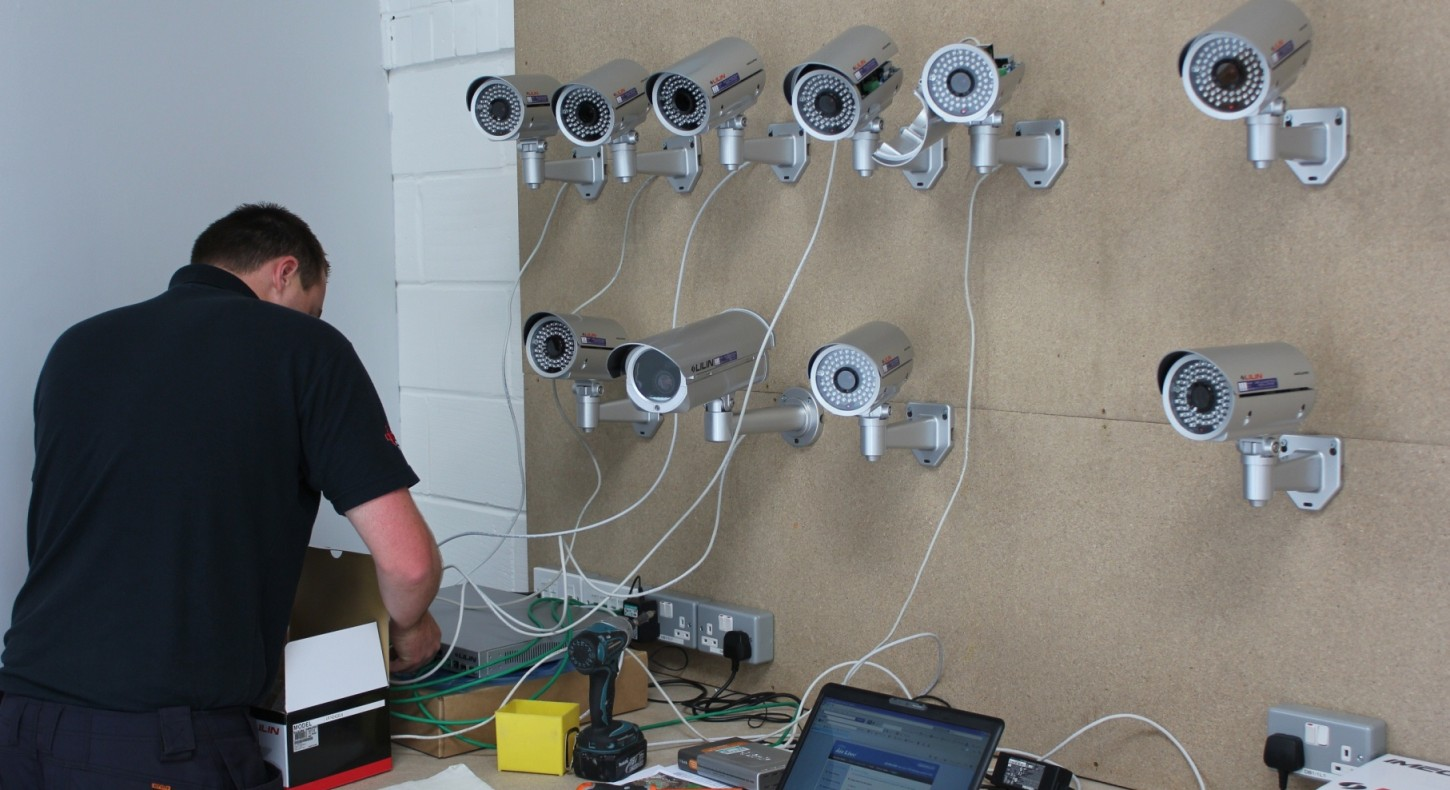 CCTV engineer setting up CCTV system before onsite installation - CCTV solutions from Project Skills Solutions