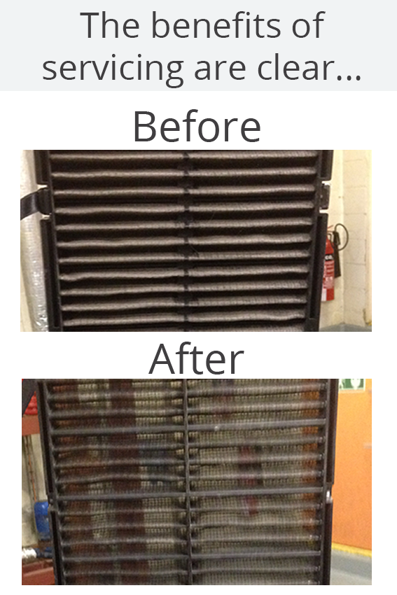 before and after shot of AC filter throughout a service