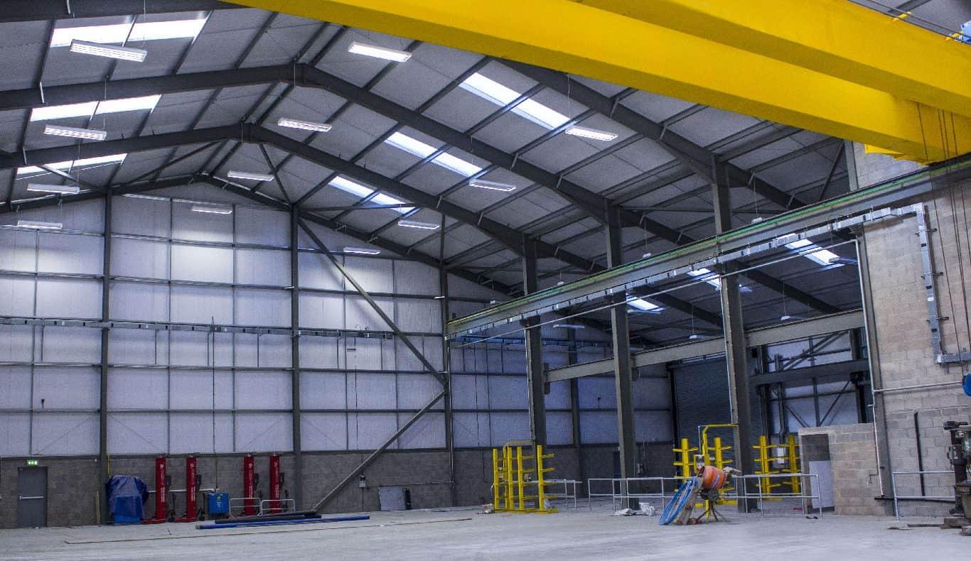 Internal warehouse lighting installation