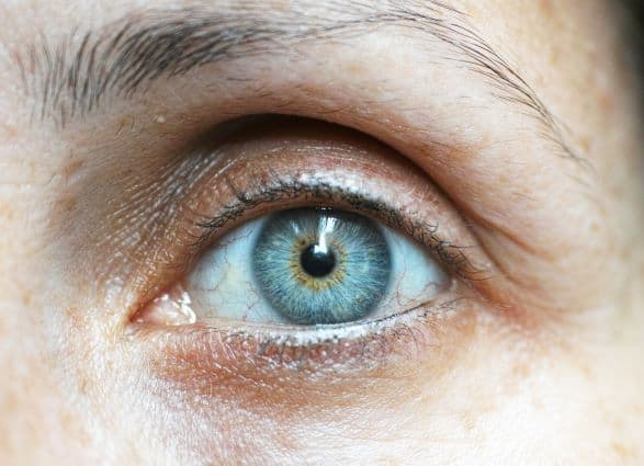 An image of a lady's blue eye.