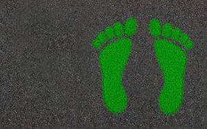 Image of a green footprint to represent a carbon footprint.