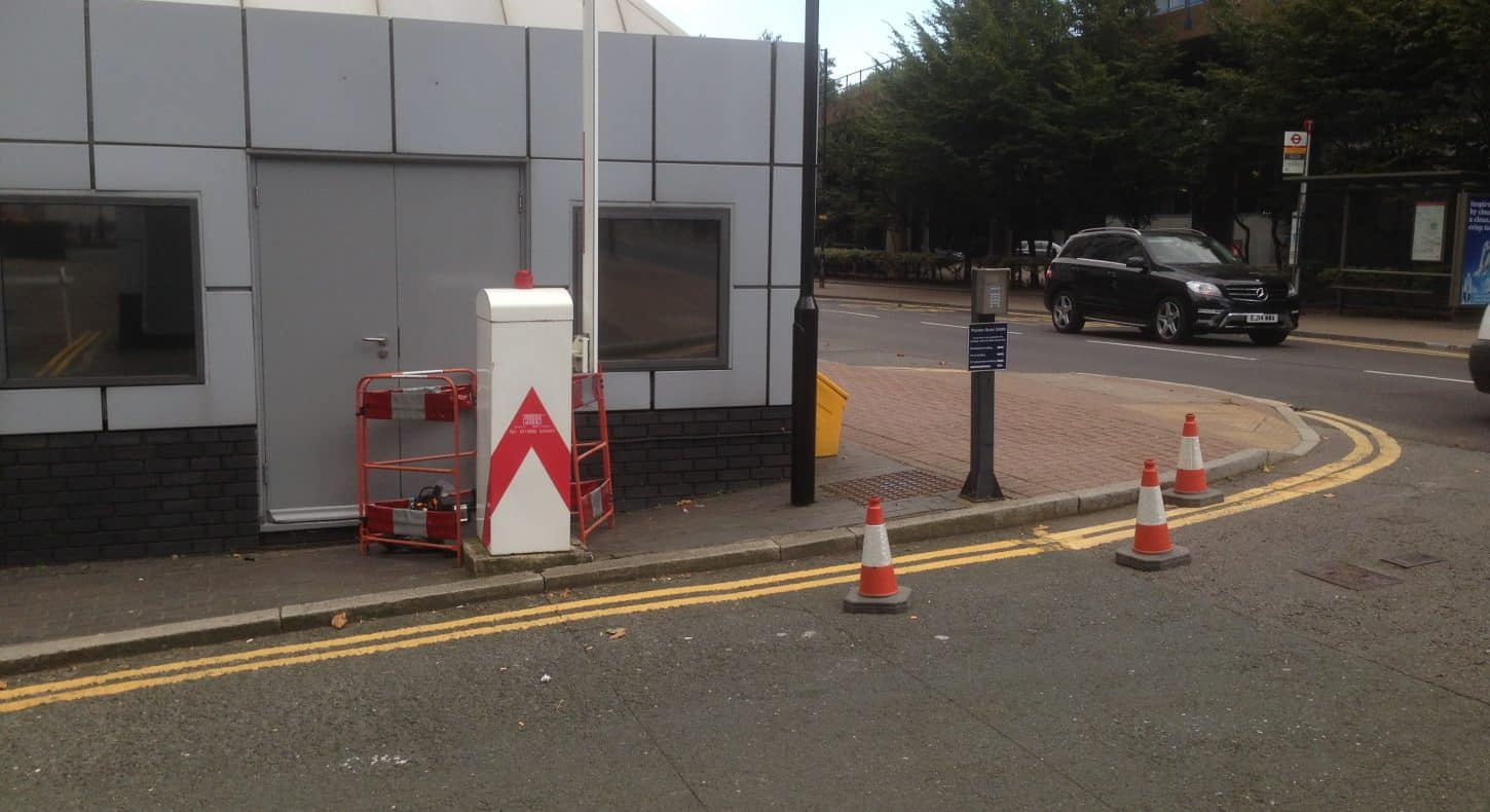 Door access equipment. Barrier in use on London site.