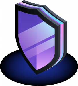 black and purple cartoon shield