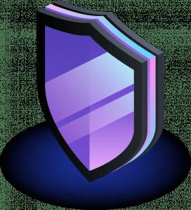 black and purple cartoon shield